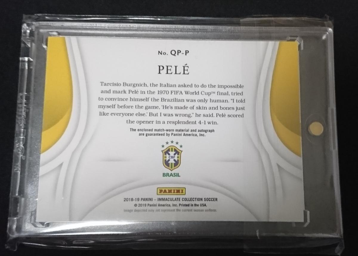 2018-19 Panini Immaculate Collection Brasil Pele Quadpatch auto 1/1 #messi Ronaldo 直筆サイン_画像2