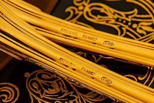 クリストフル 銀無垢 金鍍金 スプーン(大)×2 美品【n32】フランス・アンティーク・カトラリー_画像8