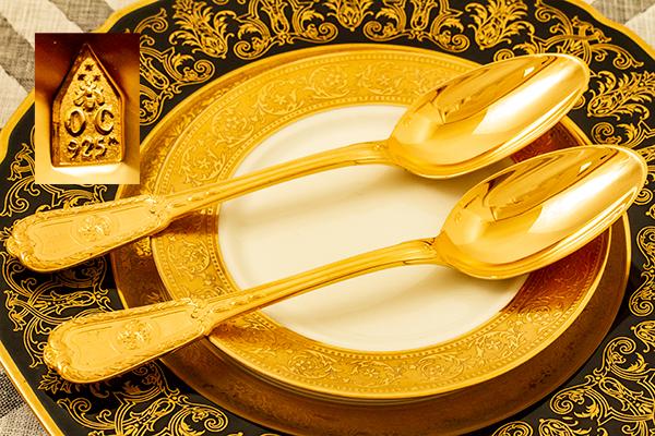 クリストフル 銀無垢 金鍍金 スプーン(大)×2 美品【n32】フランス・アンティーク・カトラリー_画像2