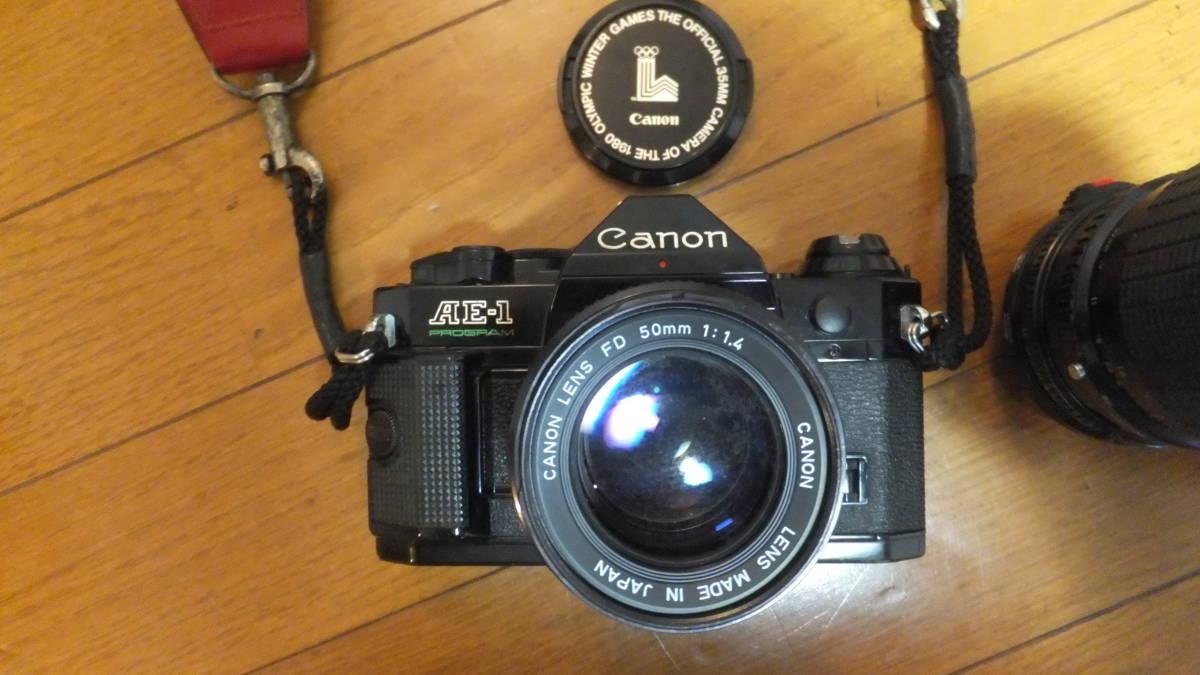 キャノン AE-1 プログラム canon ジャンク品 動作未確認 FD 50mm f1.4 シグマレンズ 35-105mm 70-210mm 付き_画像2