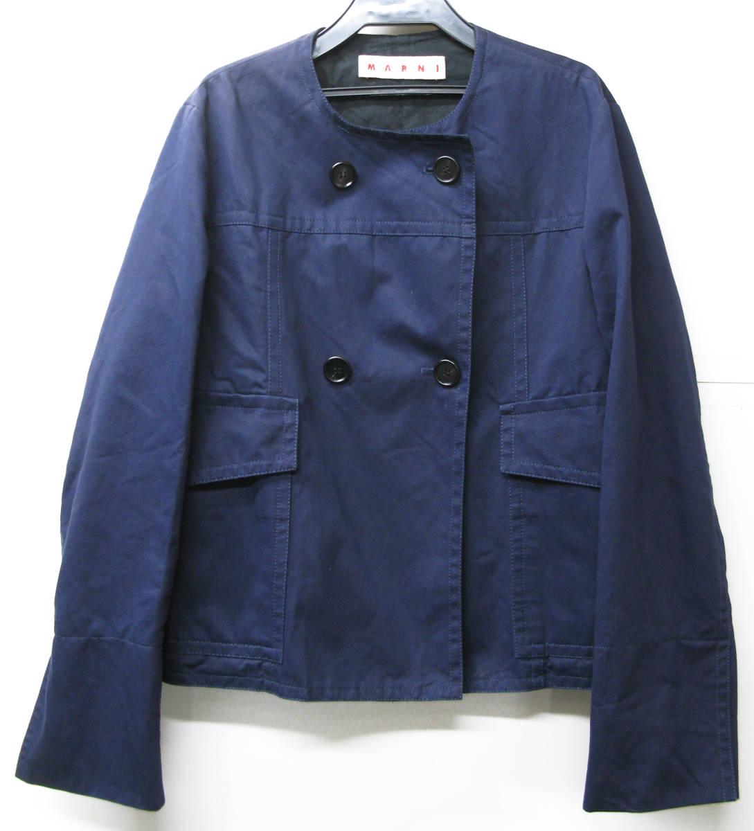マルニ MARNI:綿/麻混紡素材 ジャケット 紺 40 ( jacket ブルゾン _画像1