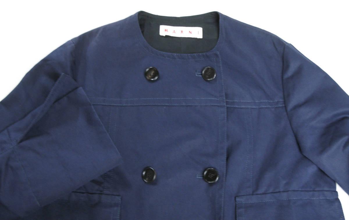 マルニ MARNI:綿/麻混紡素材 ジャケット 紺 40 ( jacket ブルゾン _画像3