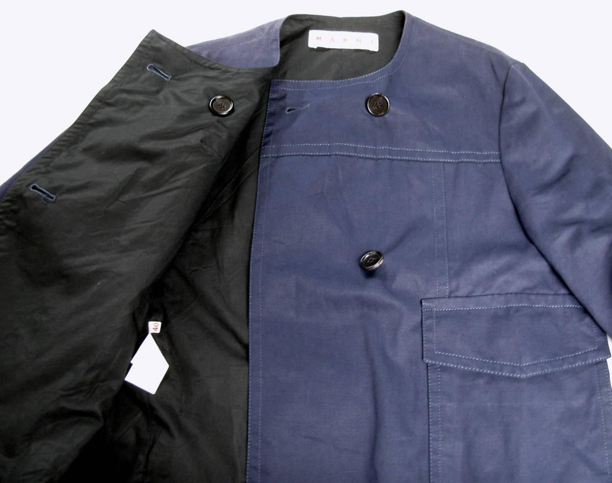 マルニ MARNI:綿/麻混紡素材 ジャケット 紺 40 ( jacket ブルゾン _画像4