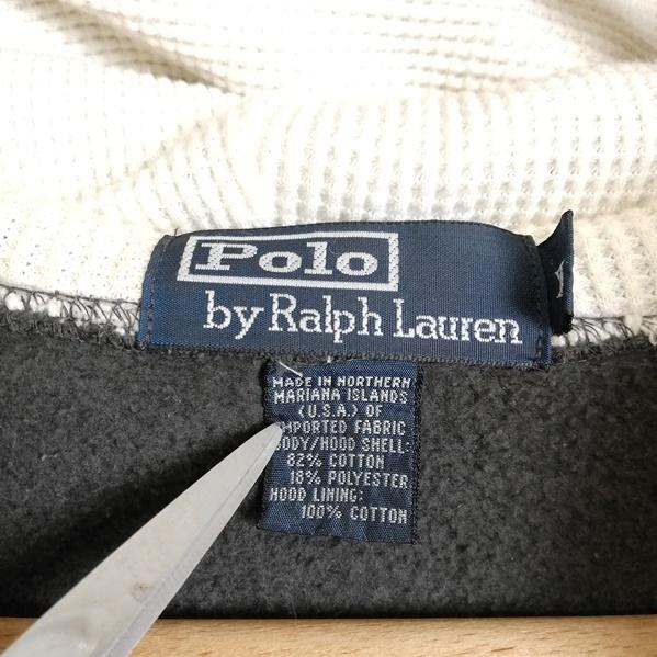 AK63■Polo by Ralph Lauren ポロラルフローレン■灰 グレー 長袖 パーカー ジップアップ 裏起毛 胸ロゴ刺繍 大きいサイズ メンズXL_画像5