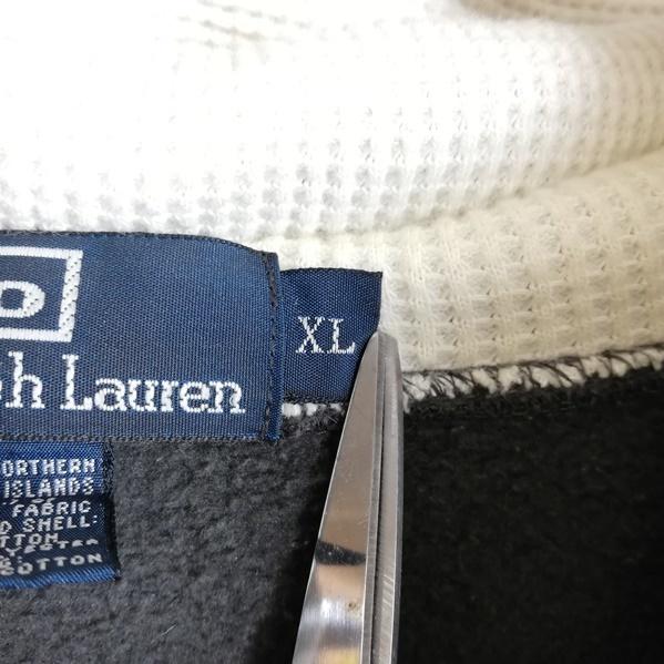 AK63■Polo by Ralph Lauren ポロラルフローレン■灰 グレー 長袖 パーカー ジップアップ 裏起毛 胸ロゴ刺繍 大きいサイズ メンズXL_画像6
