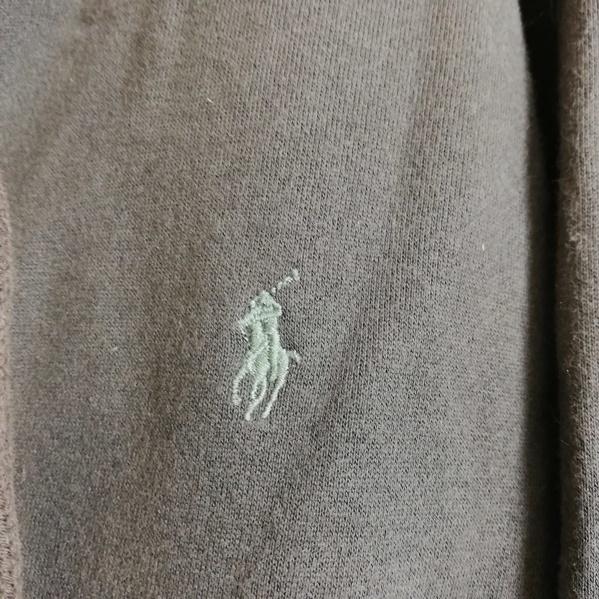 AK63■Polo by Ralph Lauren ポロラルフローレン■灰 グレー 長袖 パーカー ジップアップ 裏起毛 胸ロゴ刺繍 大きいサイズ メンズXL_画像9