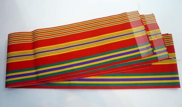 恵比寿 きものBeBe 半巾帯 赤に多色縞 正絹 博多織 中古 ほぼ未使用_画像1