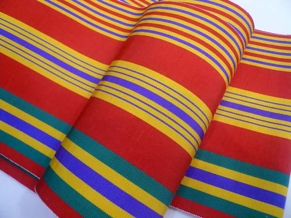 恵比寿 きものBeBe 半巾帯 赤に多色縞 正絹 博多織 中古 ほぼ未使用_画像3