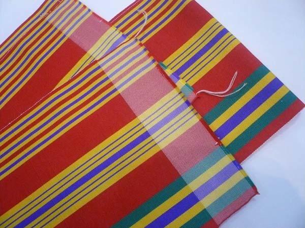 恵比寿 きものBeBe 半巾帯 赤に多色縞 正絹 博多織 中古 ほぼ未使用_画像2