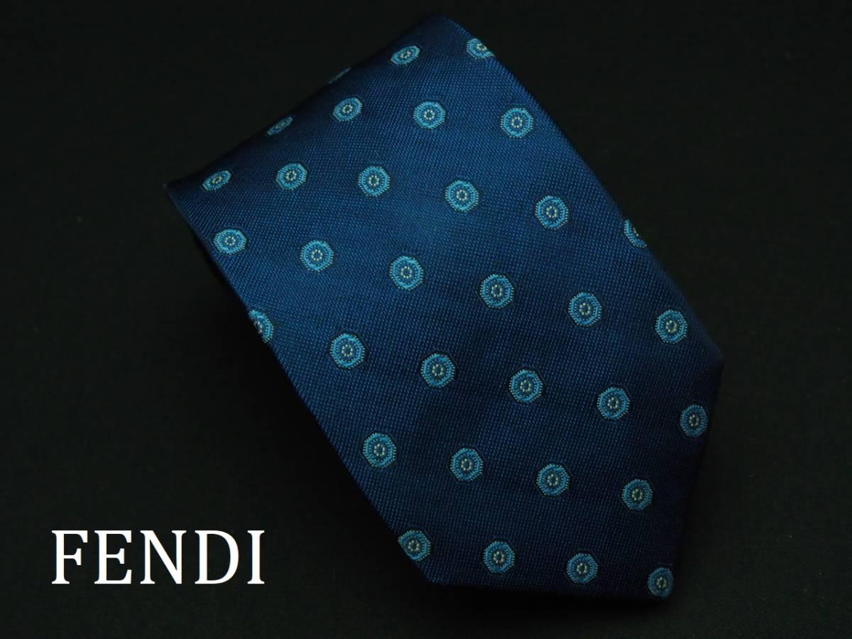 美品 FENDI フェンディ ITALY イタリア製 【ネイビー ブルー シンプル】ネクタイ USED オールド ブランド シルク