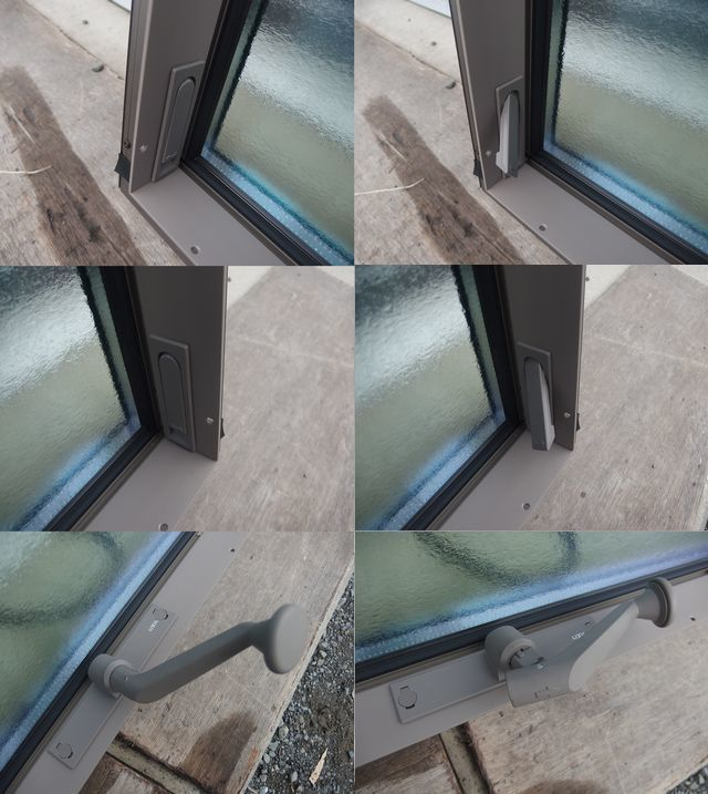 在庫品 アルミサッシ LowE ペアガラス 横すべり出し窓 オペレーター 11605(11905) シャイングレー_画像6