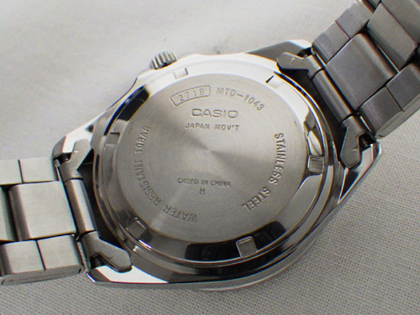 ♪ CASIO スタンダード MTD-1043 クオーツ デイト 黒文字盤 カシオ SS QZ_画像9