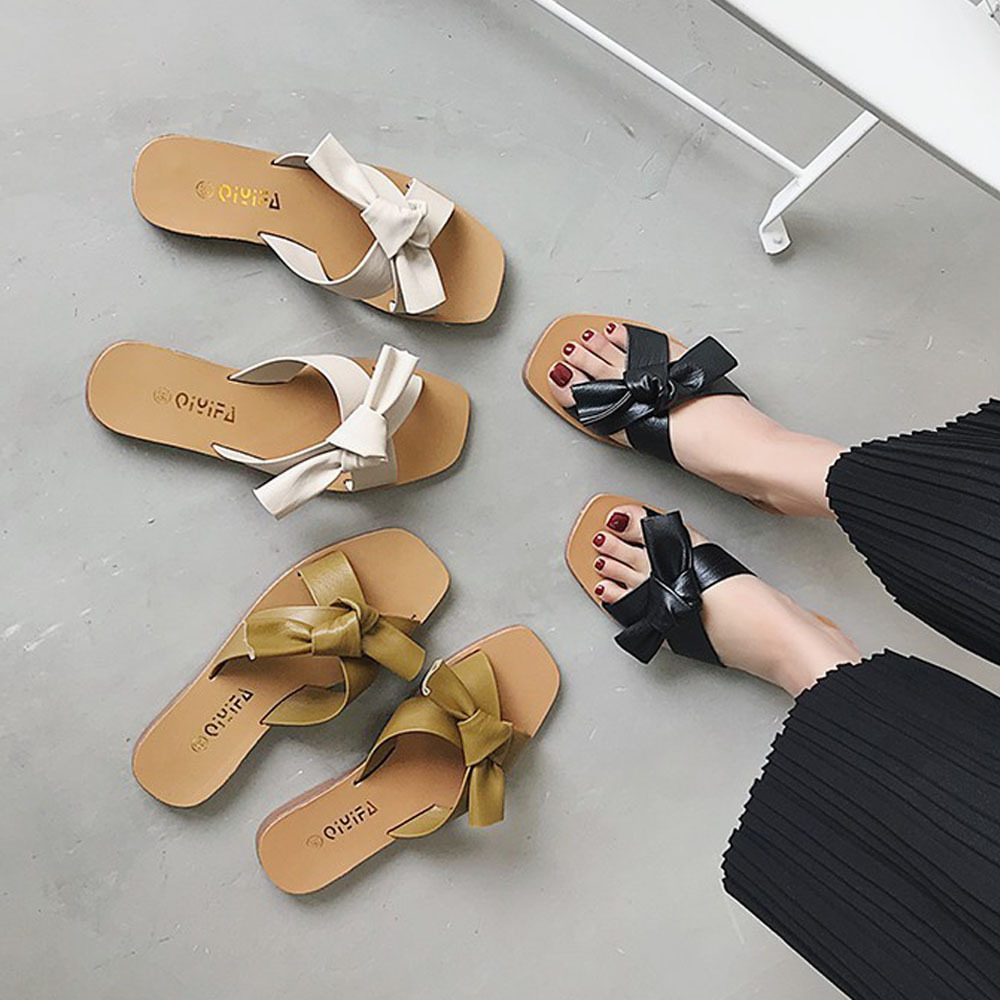 上品 サンダル レディース ミュール 靴 ビーチサンダル スリッパ フラットシューズ ぺたんこ 美脚 ローヒール_画像1