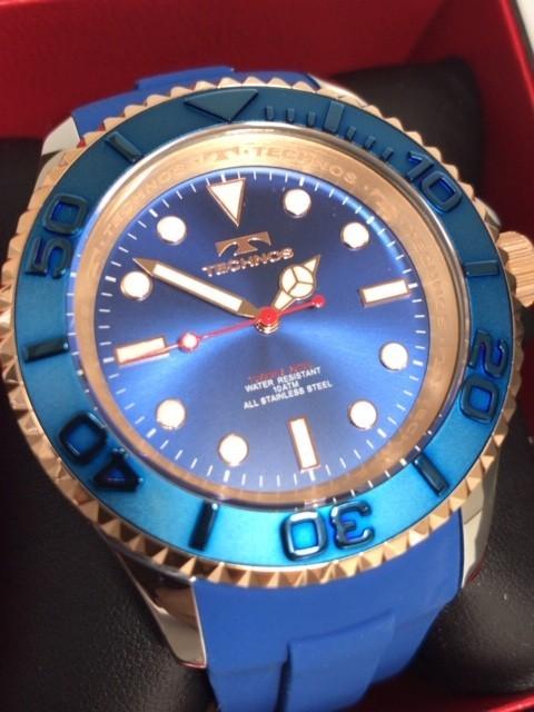 新品 TECHNOS テクノス 正規品 クロノグラフ 腕時計 ブルー×ピンクゴールド ダイバーズモデル 10気圧防水 保証書 専用箱付 ラバー メンズ