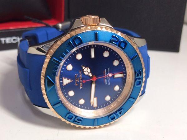 新品 TECHNOS テクノス 正規品 クロノグラフ 腕時計 ブルー×ピンクゴールド ダイバーズモデル 10気圧防水 保証書 専用箱付 ラバー メンズ_画像7