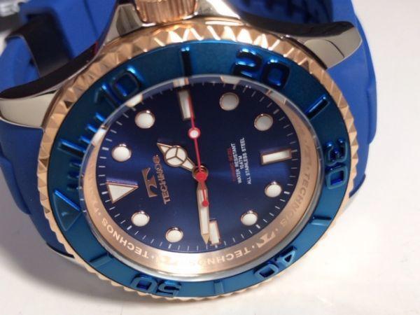 新品 TECHNOS テクノス 正規品 クロノグラフ 腕時計 ブルー×ピンクゴールド ダイバーズモデル 10気圧防水 保証書 専用箱付 ラバー メンズ_画像6