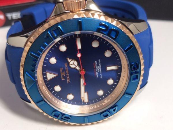 新品 TECHNOS テクノス 正規品 クロノグラフ 腕時計 ブルー×ピンクゴールド ダイバーズモデル 10気圧防水 保証書 専用箱付 ラバー メンズ_画像5