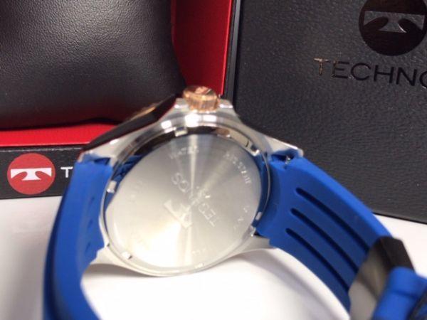 新品 TECHNOS テクノス 正規品 クロノグラフ 腕時計 ブルー×ピンクゴールド ダイバーズモデル 10気圧防水 保証書 専用箱付 ラバー メンズ_画像10