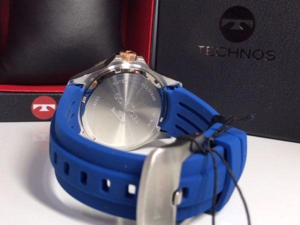 新品 TECHNOS テクノス 正規品 クロノグラフ 腕時計 ブルー×ピンクゴールド ダイバーズモデル 10気圧防水 保証書 専用箱付 ラバー メンズ_画像9