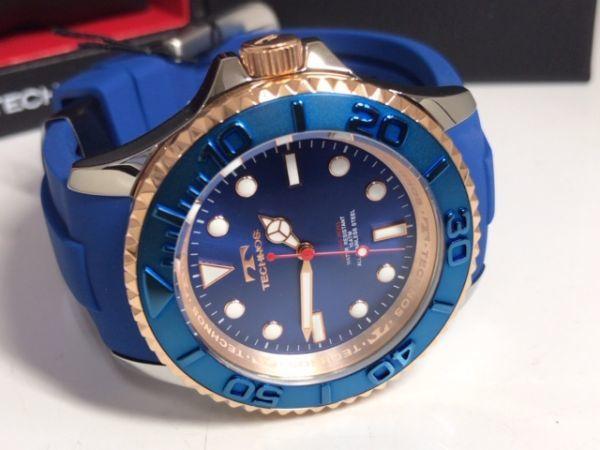 新品 TECHNOS テクノス 正規品 クロノグラフ 腕時計 ブルー×ピンクゴールド ダイバーズモデル 10気圧防水 保証書 専用箱付 ラバー メンズ_画像8