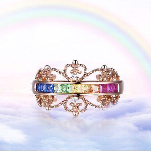 【最安値にします】ジルコン婚約指輪女性ローズゴールドカラー結婚指輪女性 オーストリアクリスタルレインボージュエリーギフトトップ品質_画像4