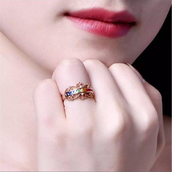 【最安値にします】ジルコン婚約指輪女性ローズゴールドカラー結婚指輪女性 オーストリアクリスタルレインボージュエリーギフトトップ品質_画像7