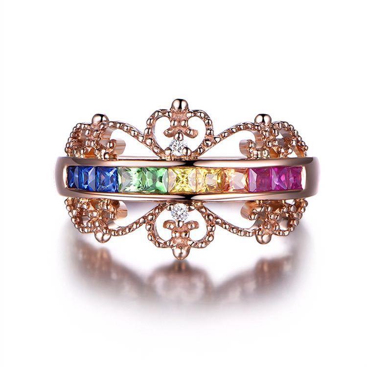 【最安値にします】ジルコン婚約指輪女性ローズゴールドカラー結婚指輪女性 オーストリアクリスタルレインボージュエリーギフトトップ品質_画像1