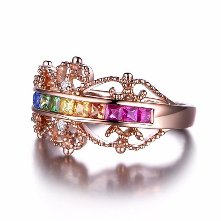 【最安値にします】ジルコン婚約指輪女性ローズゴールドカラー結婚指輪女性 オーストリアクリスタルレインボージュエリーギフトトップ品質_画像3