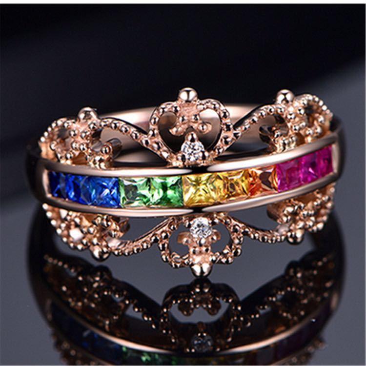 【最安値にします】ジルコン婚約指輪女性ローズゴールドカラー結婚指輪女性 オーストリアクリスタルレインボージュエリーギフトトップ品質_画像6