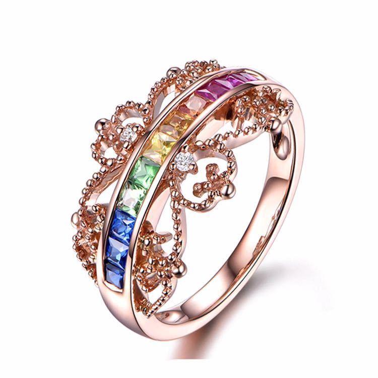 【最安値にします】ジルコン婚約指輪女性ローズゴールドカラー結婚指輪女性 オーストリアクリスタルレインボージュエリーギフトトップ品質_画像2