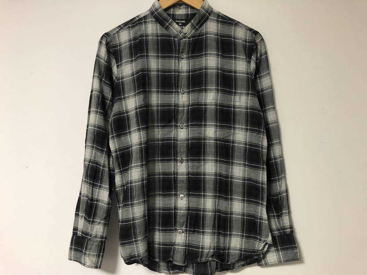 Beauty products! In recent years the model about \ 22000 CABANE de ZUCCa Japan-made texture ◎ thin cloth check band collar shirt Kabandozukka