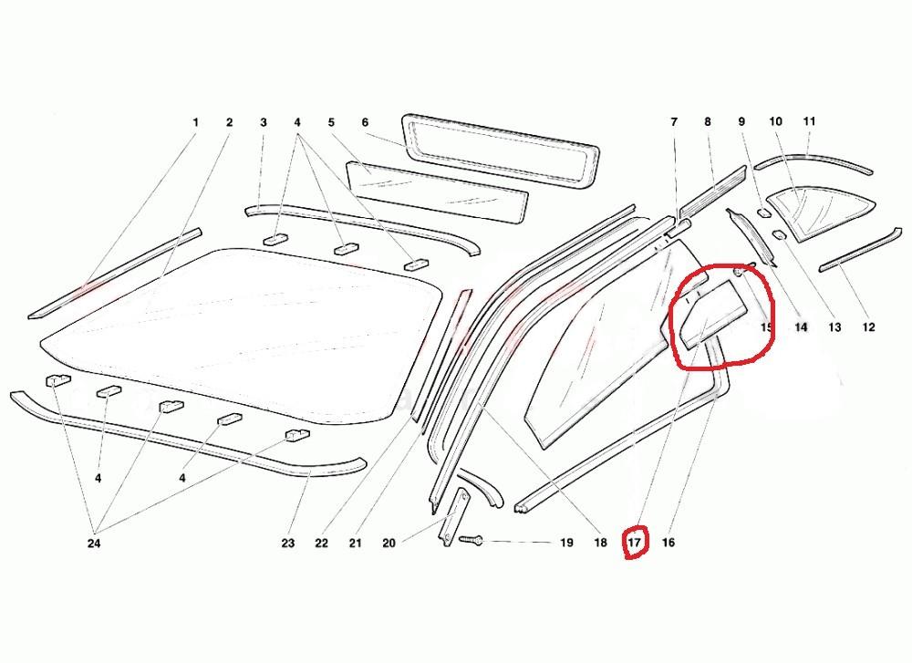 超貴重! ランボルギーニ ディアブロ SE30? Lamborghini Diablo ドアガラス右側 (小窓ガラス部品)純正品新品 _イラストは左側ですが、出品商品は右側。