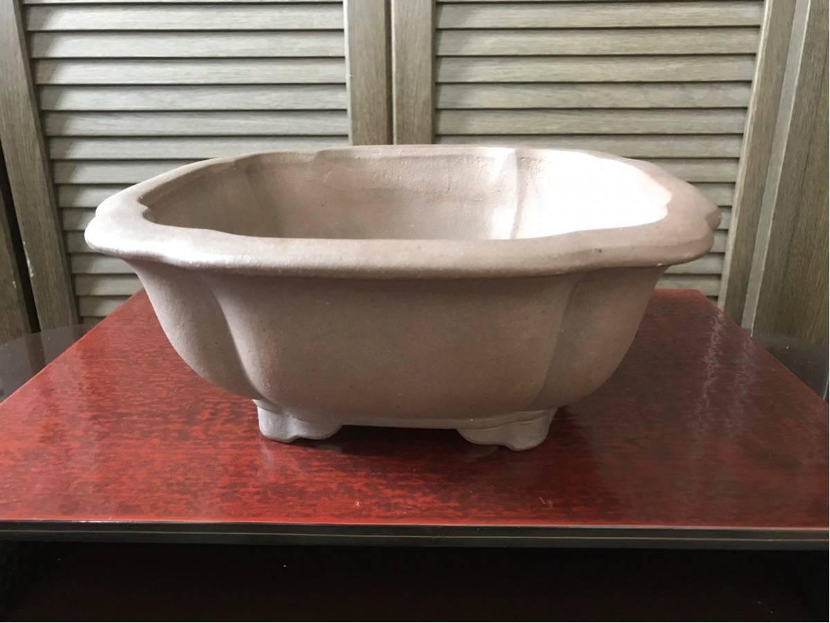 行山造 外縁下帯段足木瓜鉢