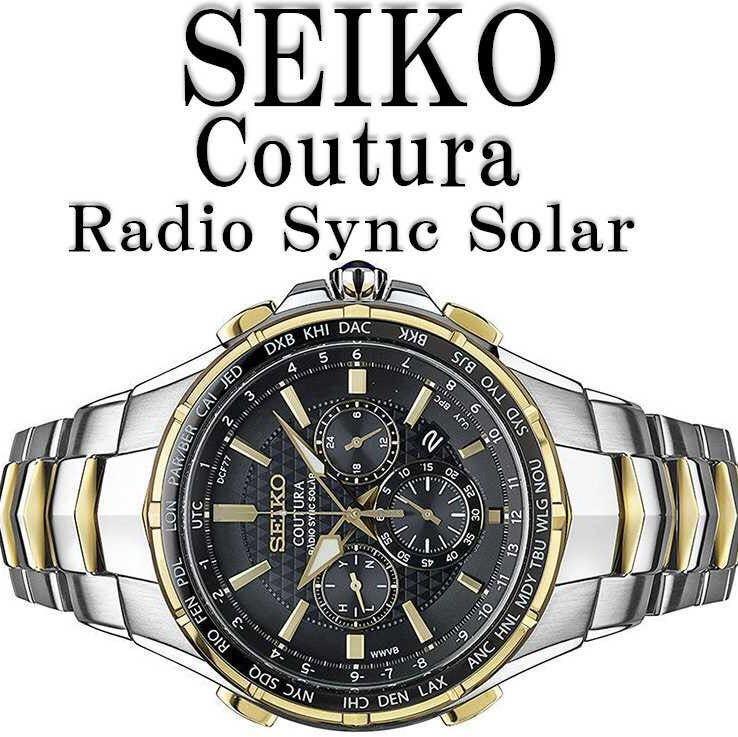 新品税無即納 激レア 「誤差10万年に1秒」 SEIKO SSG010 セイコー 上級コーチュラ ゴールド 新型電波ソーラー クロノグラフ 逆輸入 腕時計_画像3