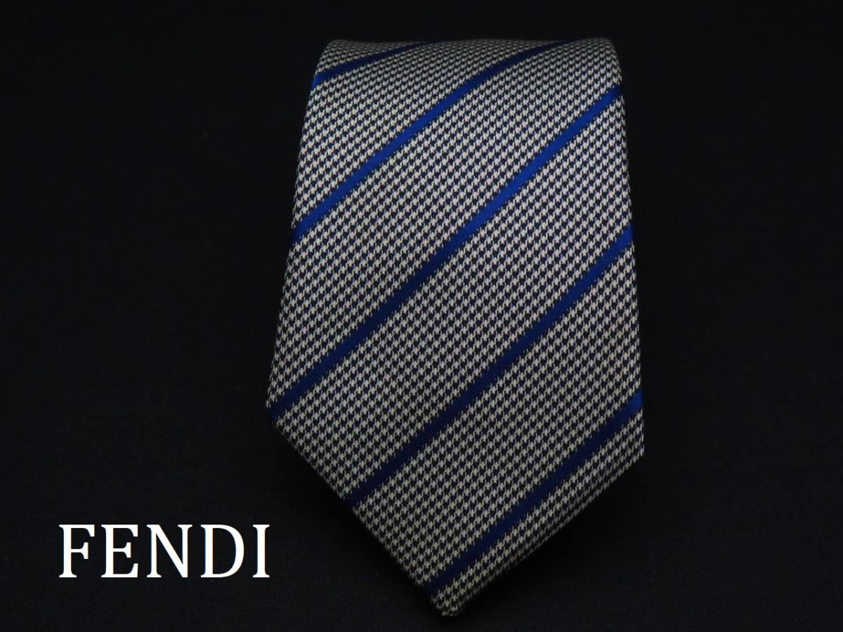 美品【FENDI】フェンディ ITALY イタリア製 ホワイト ブラック ブルー 千鳥格子 ストライプ柄 USED オールド ブランドネクタイ
