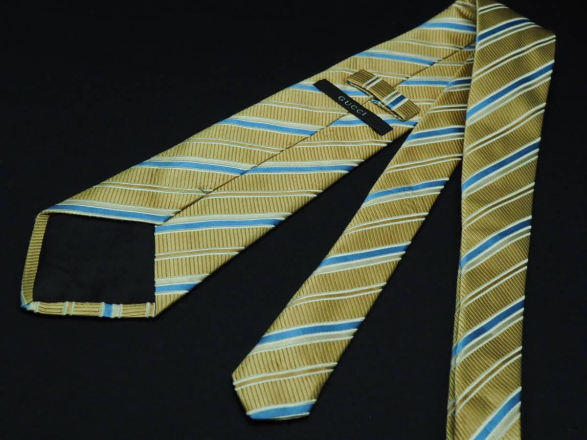 美品【Gucci】グッチ ITALY イタリア製 ベージュゴールド ブルー ホワイト ストライプ柄 USED オールド ブランドネクタイ SILK100% シルク_画像3