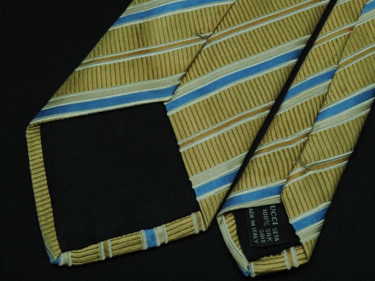 美品【Gucci】グッチ ITALY イタリア製 ベージュゴールド ブルー ホワイト ストライプ柄 USED オールド ブランドネクタイ SILK100% シルク_画像5