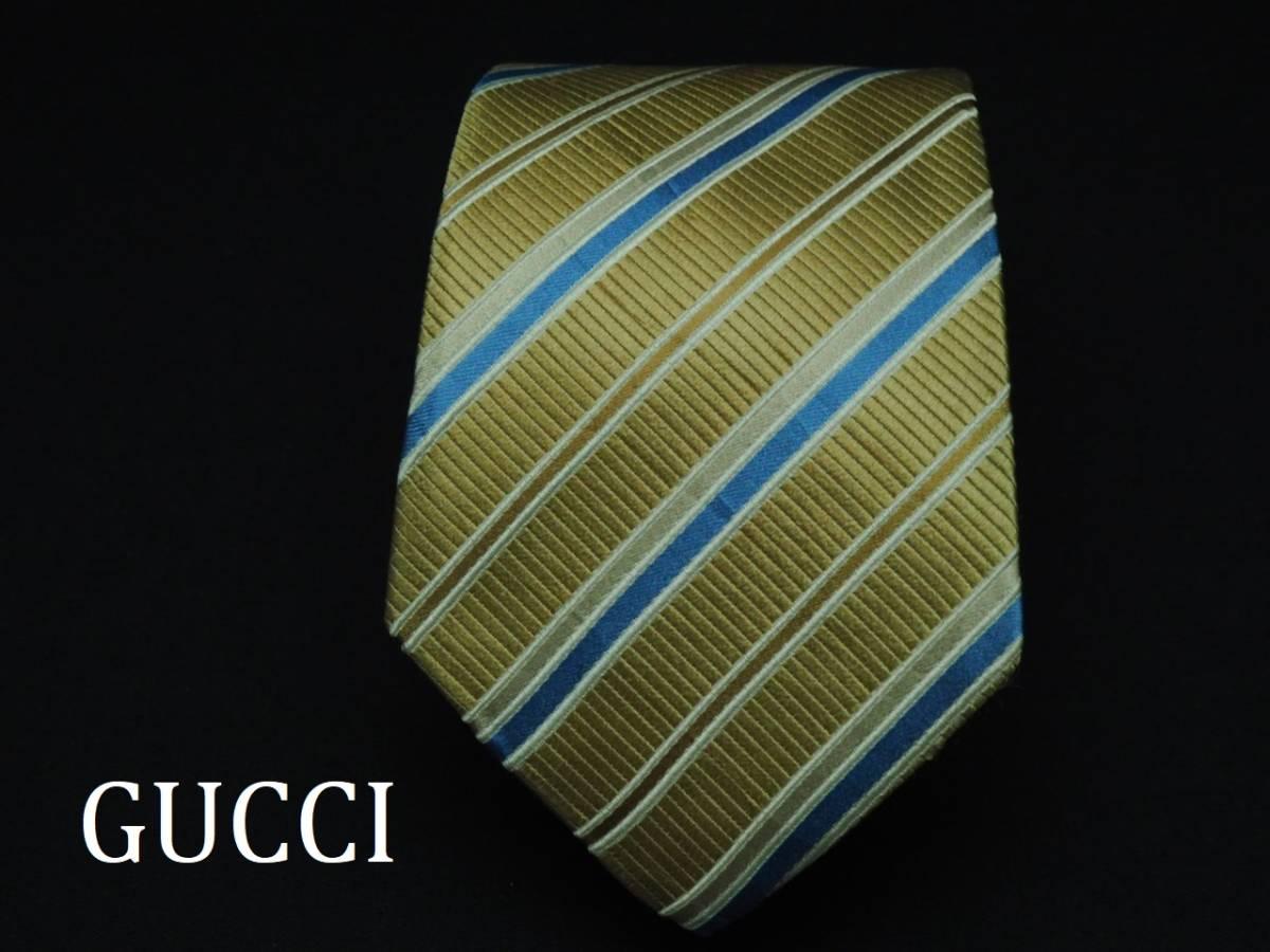美品【Gucci】グッチ ITALY イタリア製 ベージュゴールド ブルー ホワイト ストライプ柄 USED オールド ブランドネクタイ SILK100% シルク