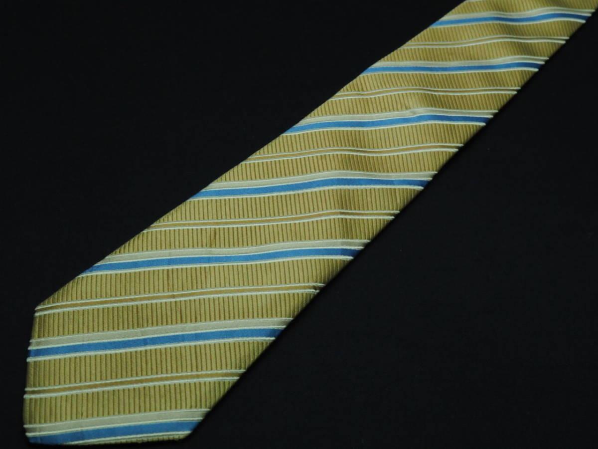 美品【Gucci】グッチ ITALY イタリア製 ベージュゴールド ブルー ホワイト ストライプ柄 USED オールド ブランドネクタイ SILK100% シルク_画像2