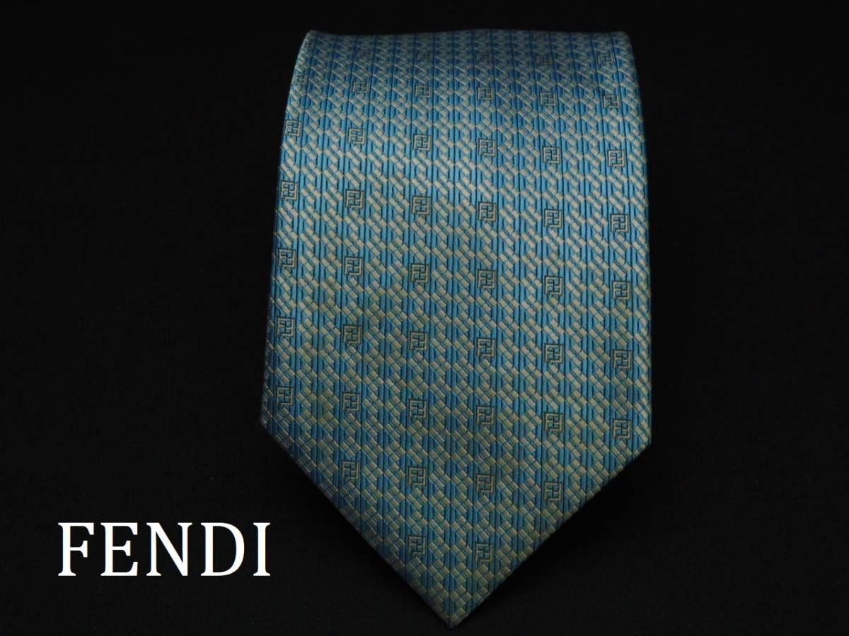 美品【FENDI】フェンディ ITALY イタリア製 アイスブルー ホワイト FFロゴ総柄 USED オールド ブランドネクタイ SILK100% シルク