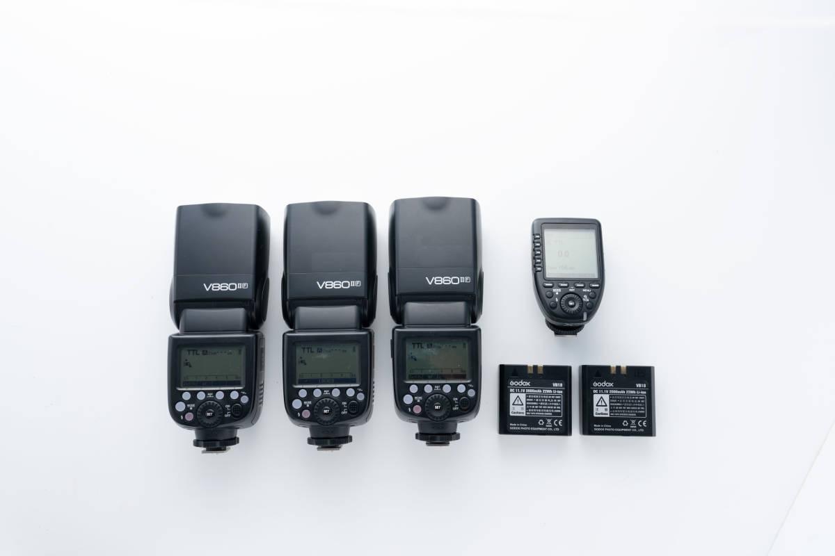 GODOX ストロボ V860ⅡF 3灯セット + GODOX コマンダー X-Pro F 予備バッテリー VB18 2個付き 富士フイルム用