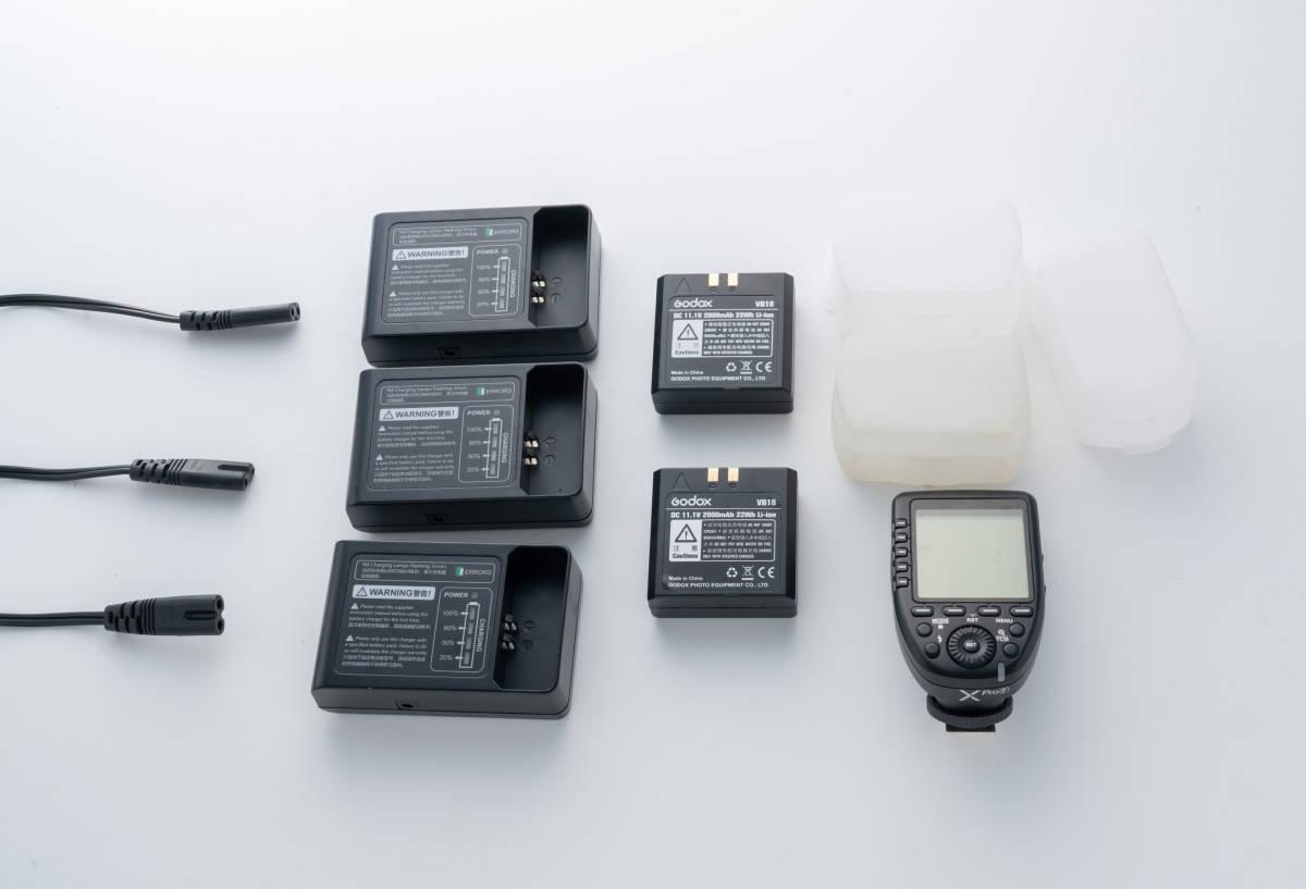GODOX ストロボ V860ⅡF 3灯セット + GODOX コマンダー X-Pro F 予備バッテリー VB18 2個付き 富士フイルム用_画像3