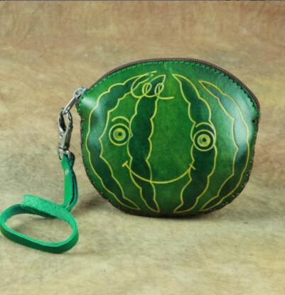 02A027 小銭入れ コインケース スイカ watermelon Handmade 実物写真 本革 メンズ レザー 牛革 人気 かわいい 可愛い 手作り