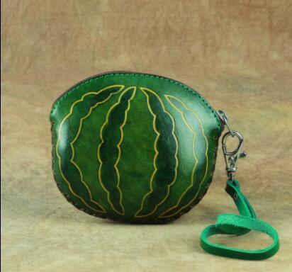 02A027 小銭入れ コインケース スイカ watermelon Handmade 実物写真 本革 メンズ レザー 牛革 人気 かわいい 可愛い 手作り_画像2