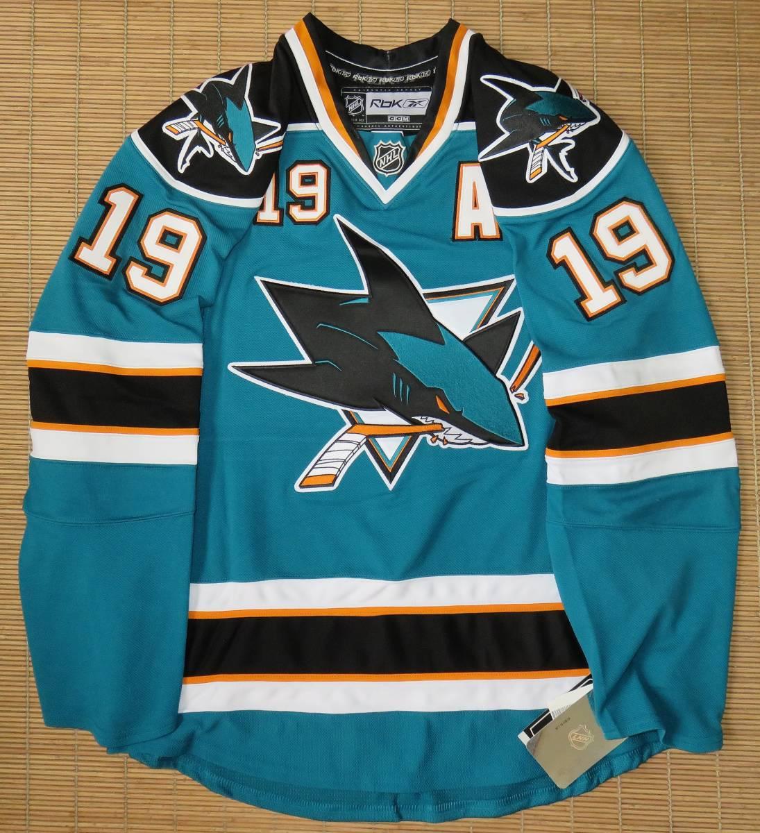 正規品 NHL サンノゼ・シャークス#19ジョー・ソーントン(カナダ代表/ブルーインズ)ホーム用/オーセンティック ジャージ/ユニフォーム_画像1