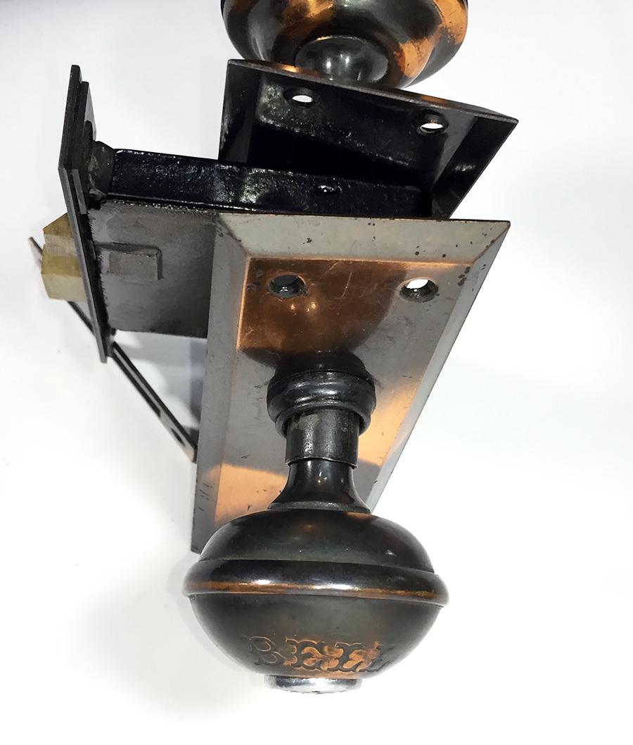 超珍品!1900's【ベル内蔵式】ドアノブアメリカンアンティークビンテージアトリエランプ照明ライトデスク椅子古道具建具シャビーホーロー鉄_画像4