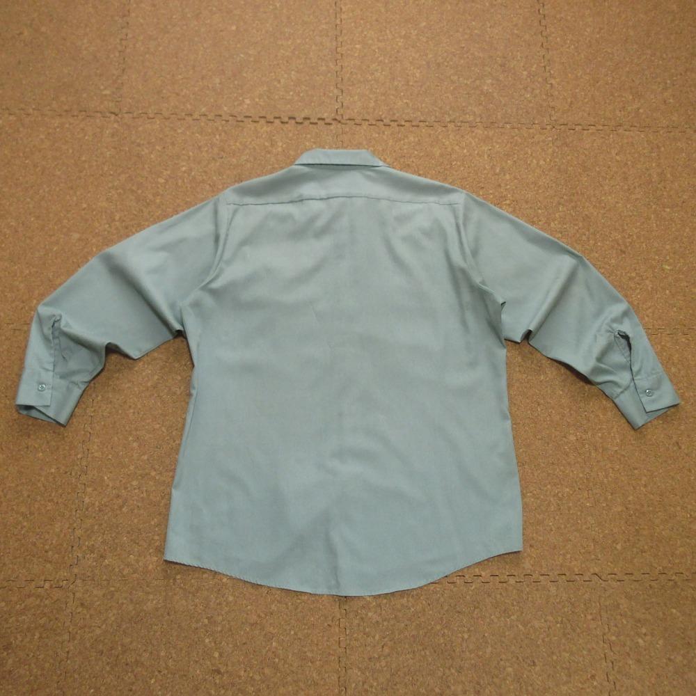 ARAMARK ダメージ ワッペン付 長袖 ワーク シャツ USAサイズ(L) 2L 3L XL 2XL 緑 グリーン ボタンダウン 雰囲気系 USA古着_画像5