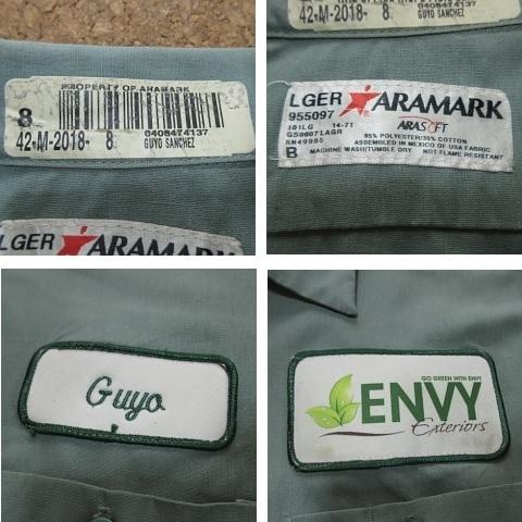 ARAMARK ダメージ ワッペン付 長袖 ワーク シャツ USAサイズ(L) 2L 3L XL 2XL 緑 グリーン ボタンダウン 雰囲気系 USA古着_画像6