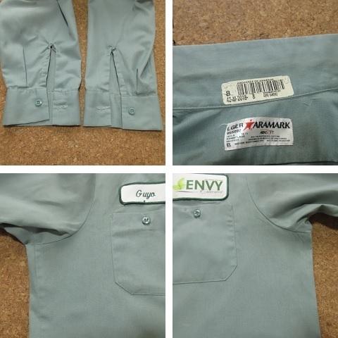 ARAMARK ダメージ ワッペン付 長袖 ワーク シャツ USAサイズ(L) 2L 3L XL 2XL 緑 グリーン ボタンダウン 雰囲気系 USA古着_画像7