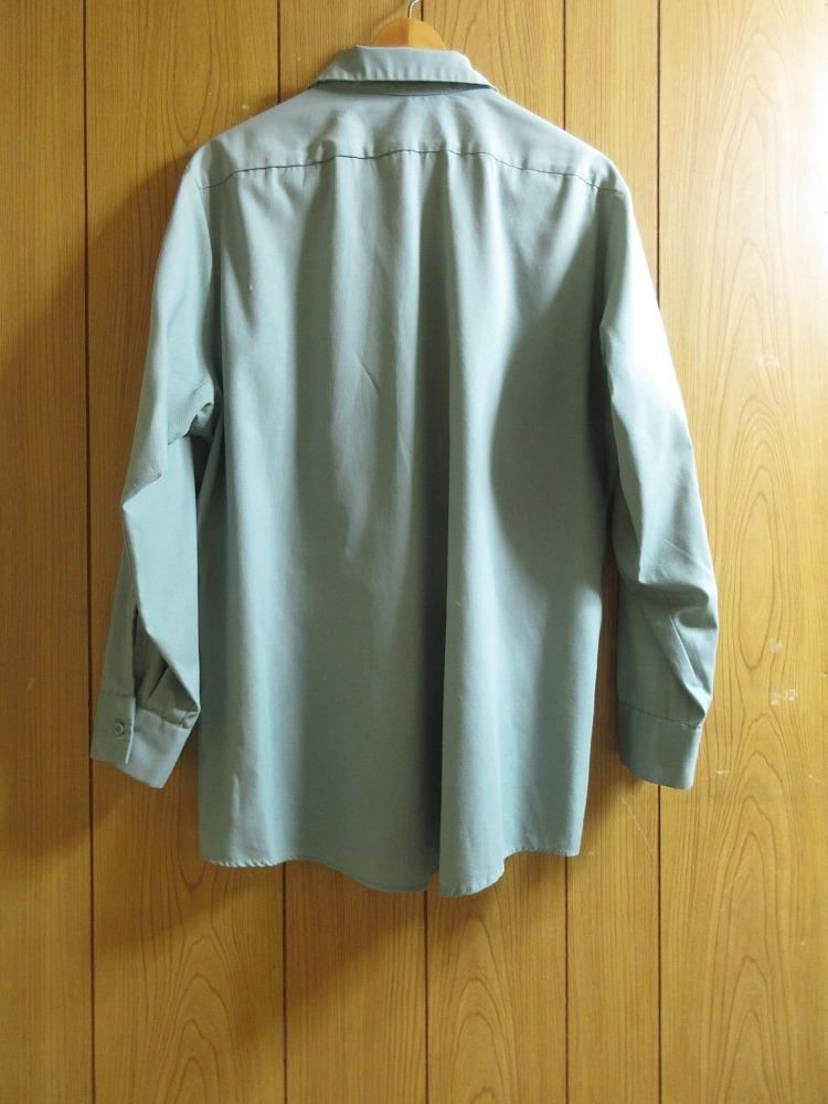 ARAMARK ダメージ ワッペン付 長袖 ワーク シャツ USAサイズ(L) 2L 3L XL 2XL 緑 グリーン ボタンダウン 雰囲気系 USA古着_画像3